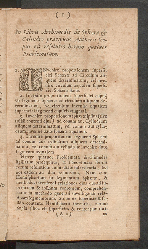First page of Isaac Barrow's published lecture on Archimedes' theories, 1678