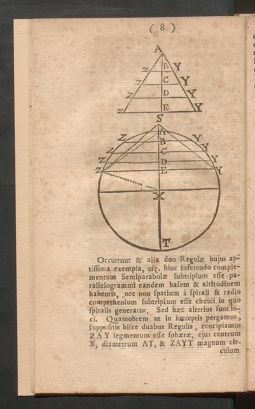 Page eight of Isaac Barrow's published lecture on Archimedes' theories, 1678