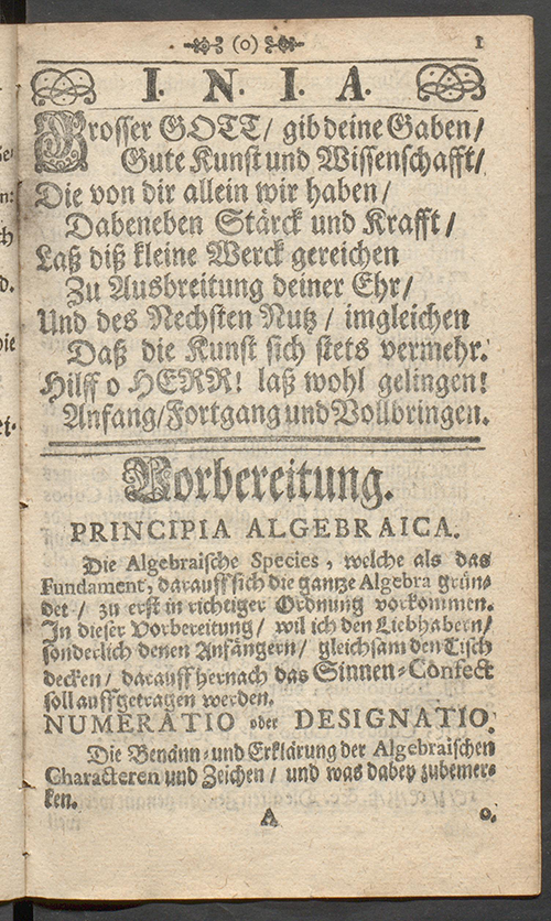 Page 1 of Deliciae Mathematicae by Paul Halcken, 1719