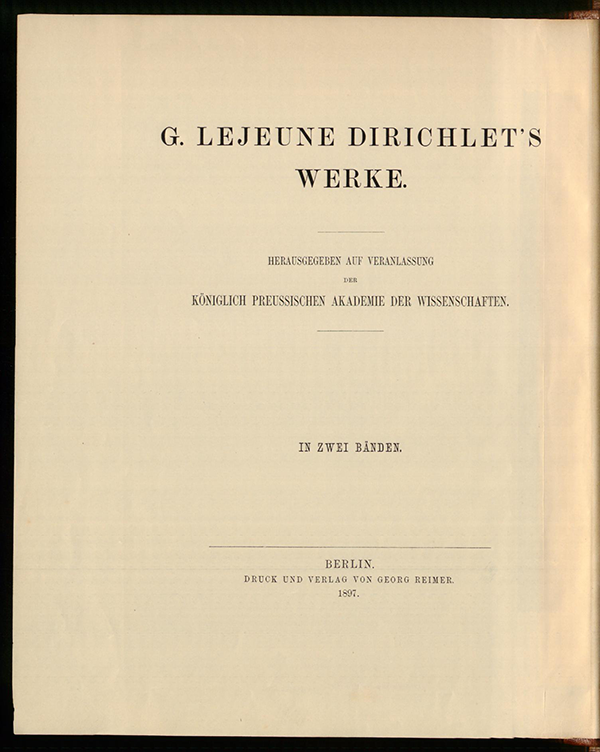 Title page of Volume II of Dirichlet's collected works, 1897