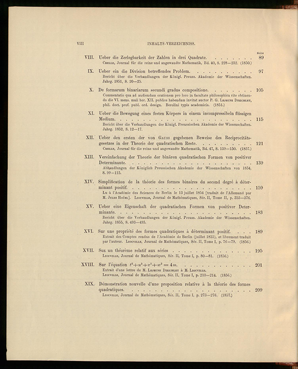 Second page of table of contents for Dirichlet's collected works, volume II, 1897