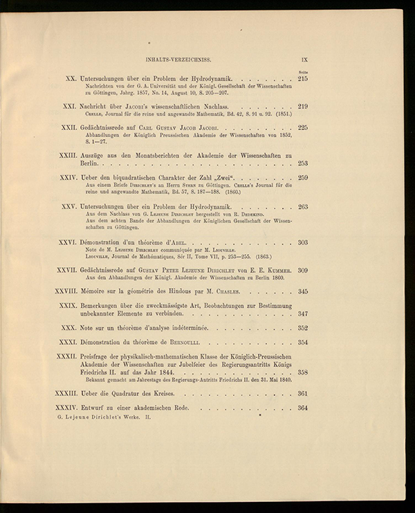 Third page of table of contents for Dirichlet's collected works, volume II, 1897
