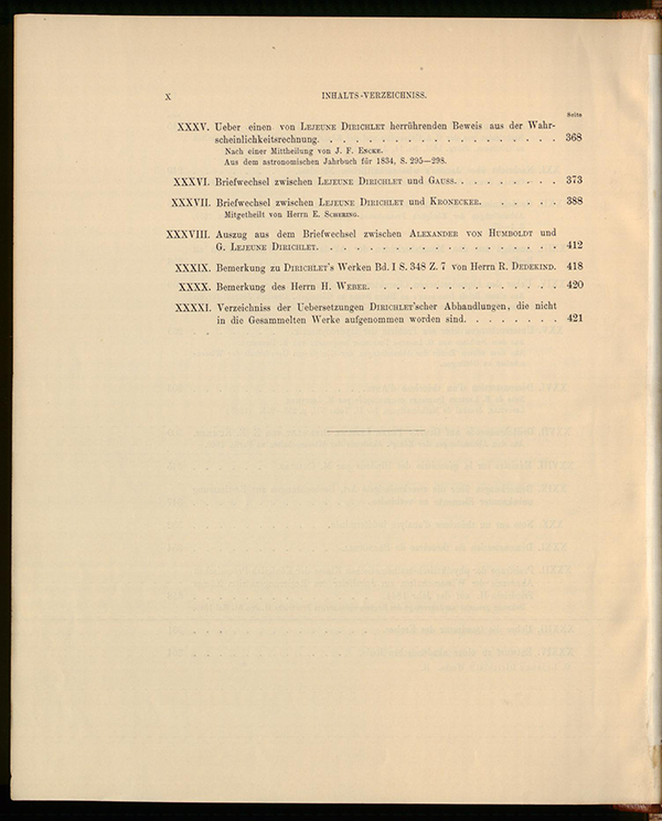 Fourth page of table of contents for Dirichlet's collected works, volume II, 1897