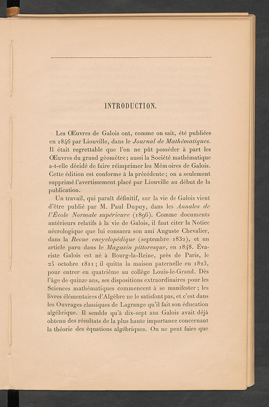 First page of Introduction to Oeuvres Mathematiques by Evariste Galois, 1897