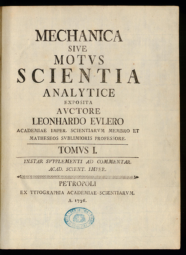 Title page of Mechanica by Leonhard Euler, 1736