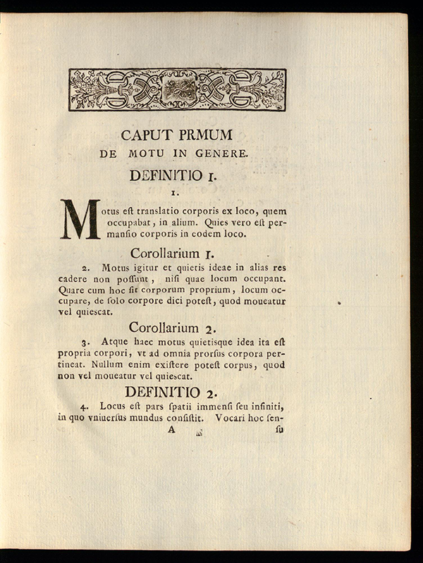 Introductory definitions from Mechanica by Leonhard Euler, 1736