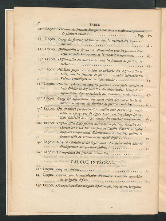 Second page of table of contents for Résumé des Leçons sur le Calcul Infinitesimal by Augustin-Louis Cauchy, 1823