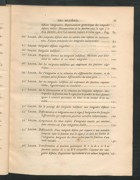 Third page of table of contents for Résumé des Leçons sur le Calcul Infinitesimal by Augustin-Louis Cauchy, 1823