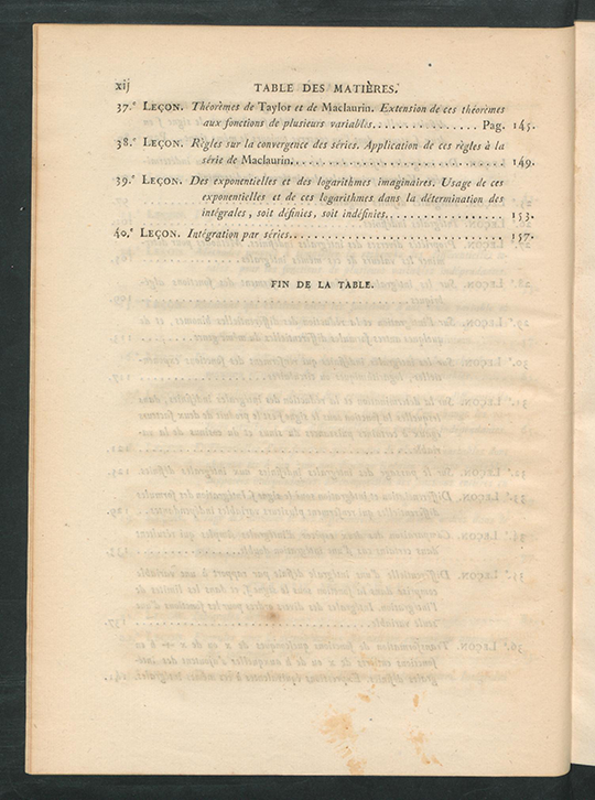 Fourth page of table of contents for Résumé des Leçons sur le Calcul Infinitesimal by Augustin-Louis Cauchy, 1823