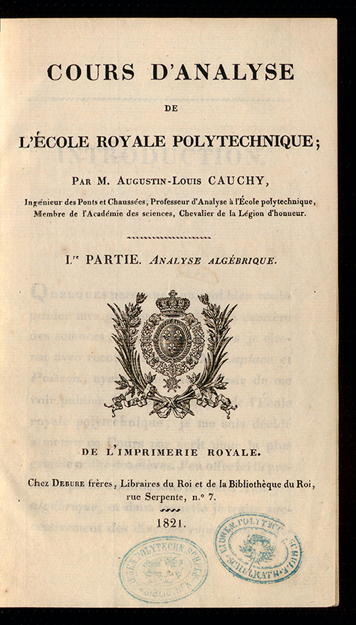Title page of Cours D'Analyse by Augustin-Louis Cauchy, 1821