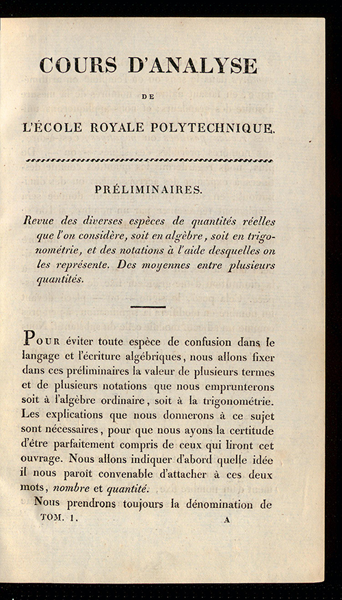 Introductory text from Cours D'Analyse by Augustin-Louis Cauchy, 1821