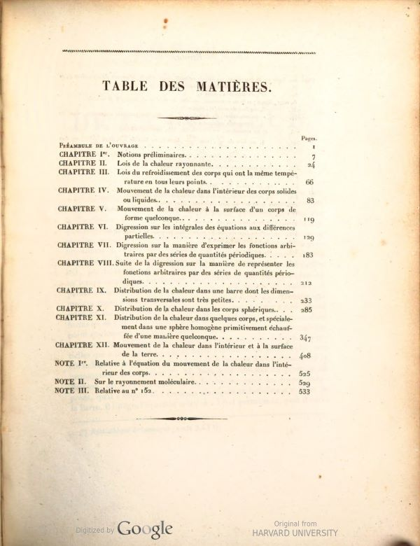 Table of contents from Théorie mathématique de la chaleur by Siméon-Denis Poisson, 1835