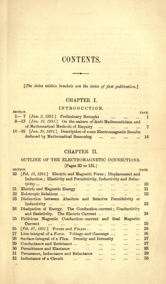 Table of contents for Heaviside's first volume of Electromagnetic Theory.