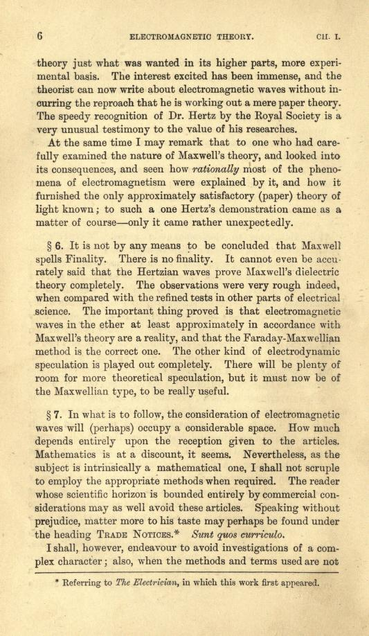 Page 4 from Heaviside's first volume of Electromagnetic Theory (1893).