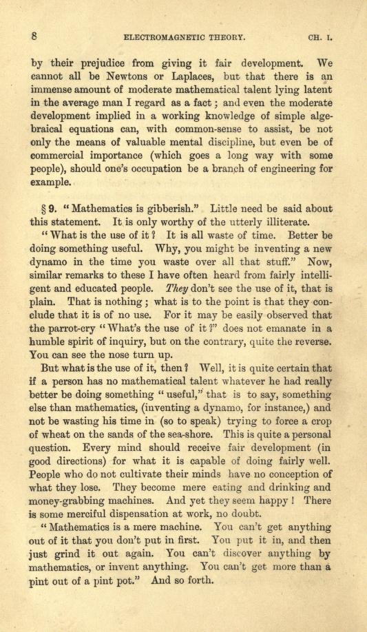 Page 6 from Heaviside's first volume of Electromagnetic Theory (1893).
