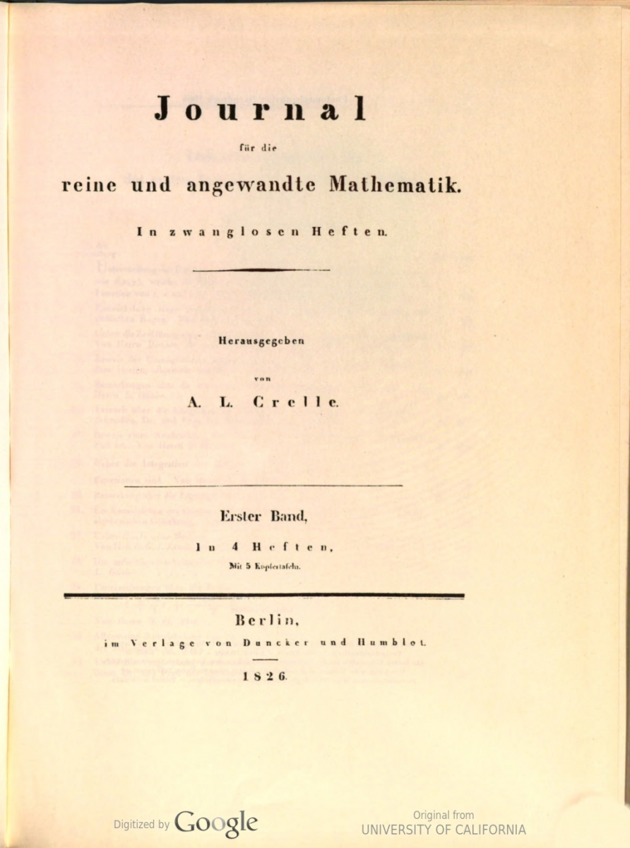 Title page of 1st volume of Crelle's journal (1826).