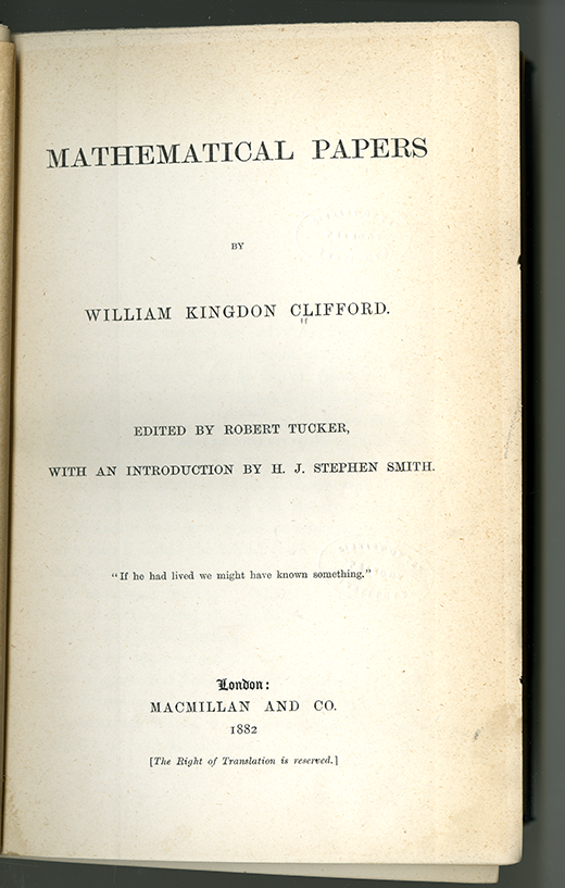 Title page of Mathematical Papers by William Clifford, 1882