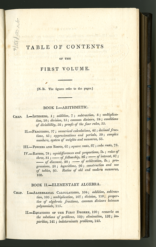 First page of table of contents for Complete Course in Pure Mathematics by Francoeur, translated by Blakelock, vol. 1, 1829