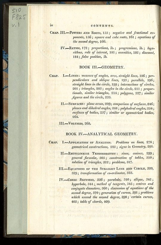 Second page of table of contents for Complete Course in Pure Mathematics by Francoeur, translated by Blakelock, vol. 1, 1829