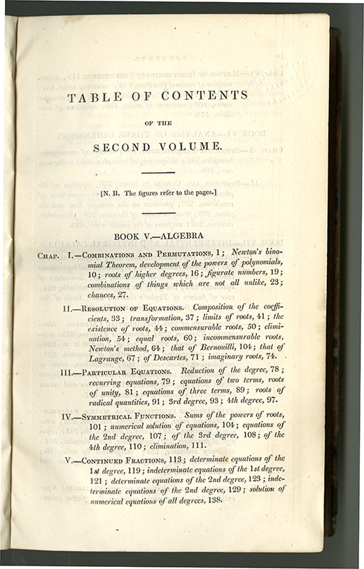First page of table of contents for Complete Course in Pure Mathematics by Francoeur, translated by Blakelock, vol. 2, 1830