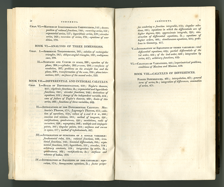Second and third pages of table of contents for Complete Course in Pure Mathematics by Francoeur, translated by Blakelock, vol. 2, 1830