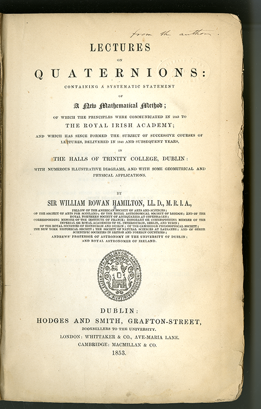 Title page of Lectures on Quaternions by William Rowan Hamilton, 1853
