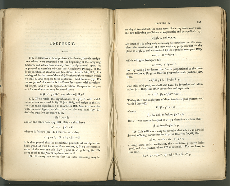 Pages 186-187 of Lectures on Quaternions by William Rowan Hamilton, 1853