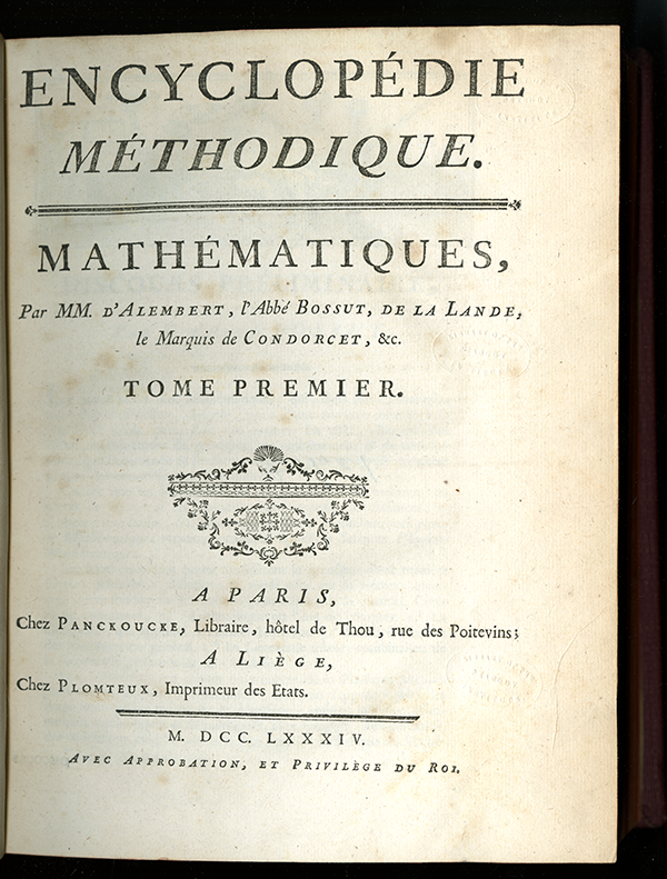 "Title page of 1784 volume ""Mathématiques"" from the Encyclopédie Méthodique"