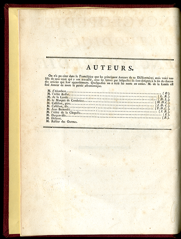 "List of authors of 1784 volume ""Mathématiques"" from the Encyclopédie Méthodique"