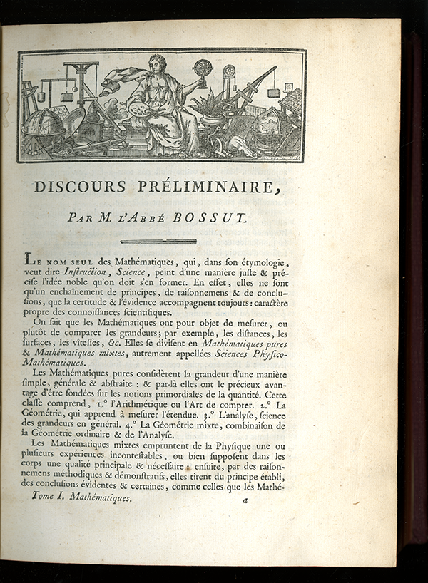 "Introduction page from 1784 volume ""Mathématiques"" from the Encyclopédie Méthodique"