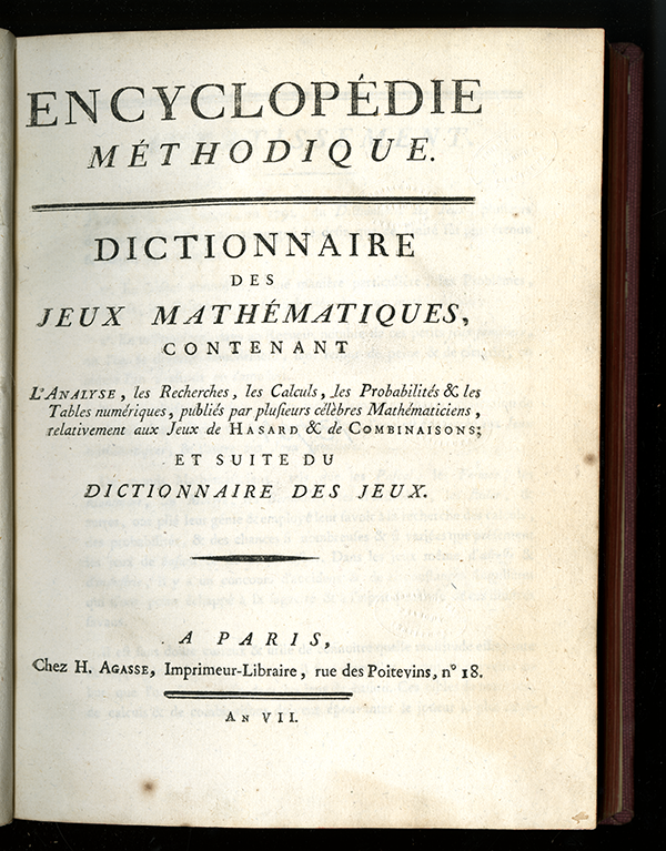 "Title page of 1798-99 addendum to ""Mathématiques"" from the Encyclopédie Méthodique"