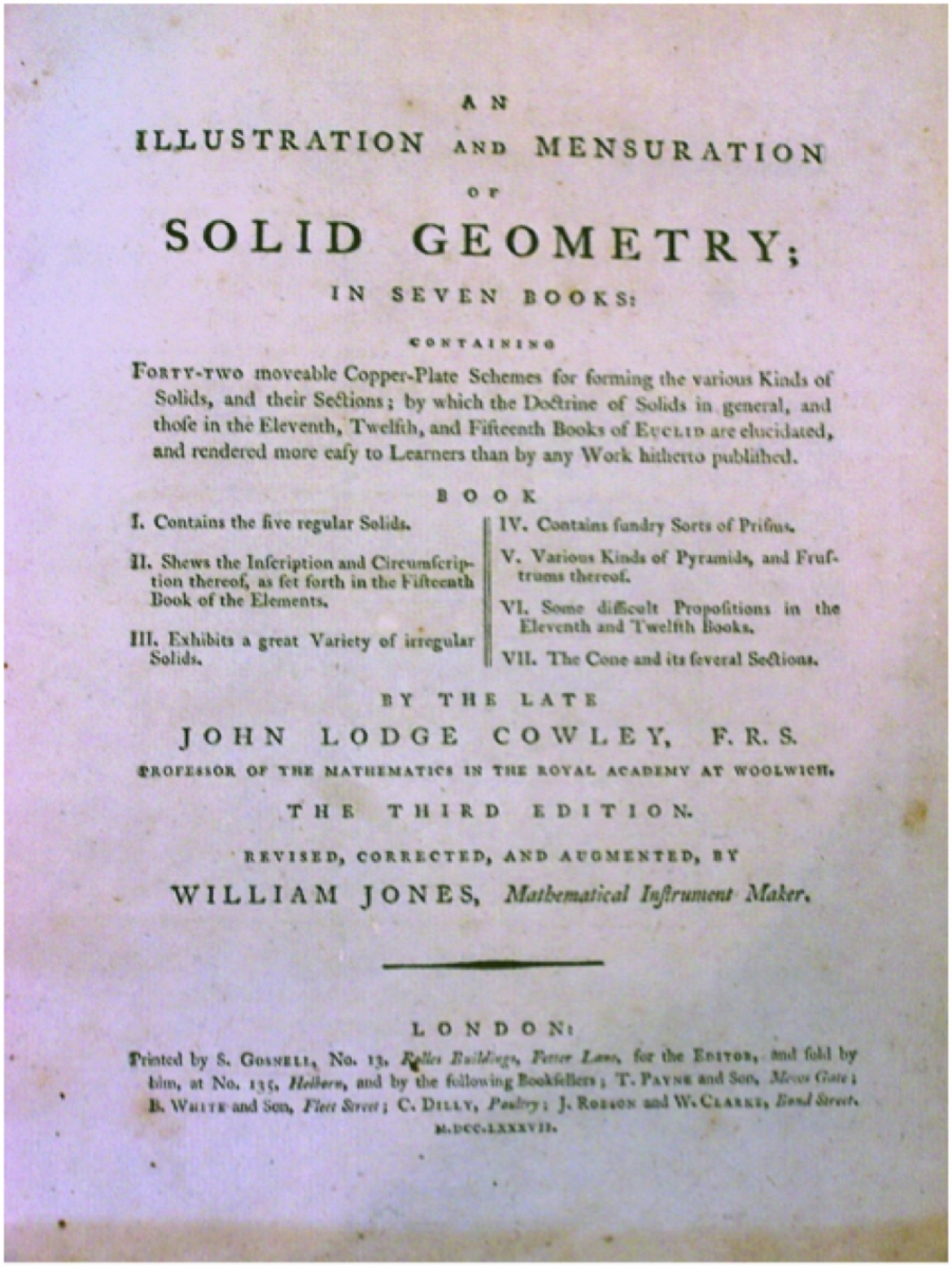 Title page of 3rd edition of Cowley's Solid Geometry.