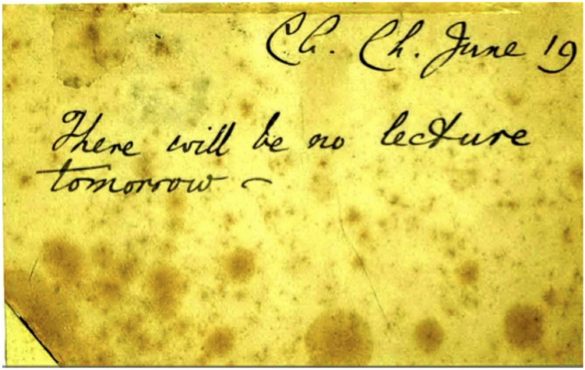 Reverse of the 1896 postcard signed by Charles Dodgson.