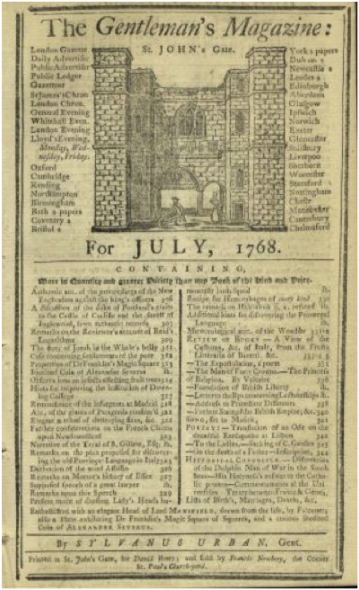 Cover of July 1768 Gentleman's Magazine.