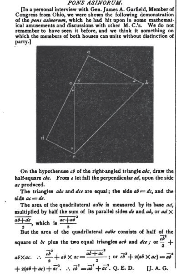 Mathematical Treasure James A Garfield S Proof Of The Pythagorean Theorem Mathematical Association Of America