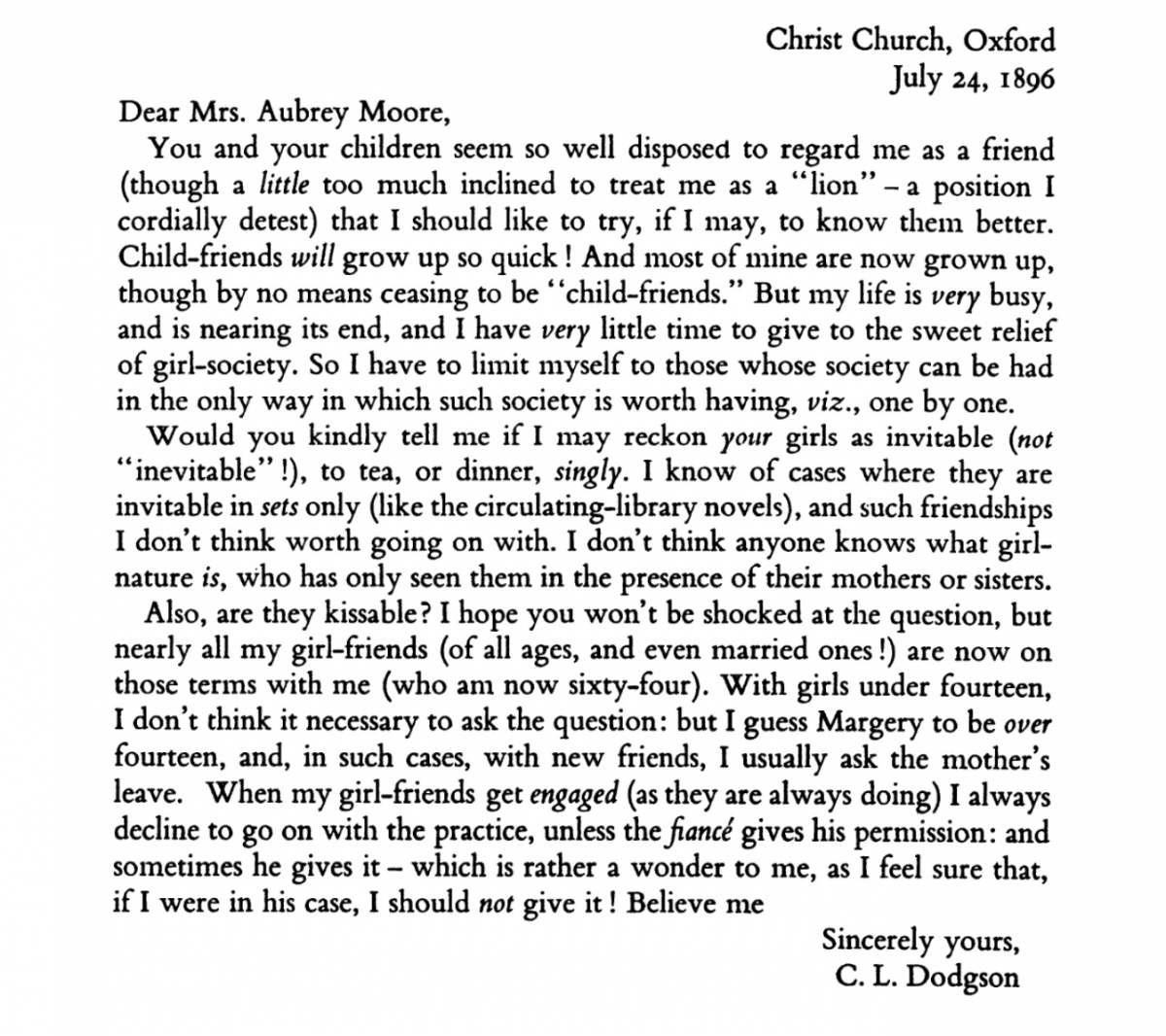 Charles Dodgson letter to Mrs. Moore (1896), edited by Morton Cohen.