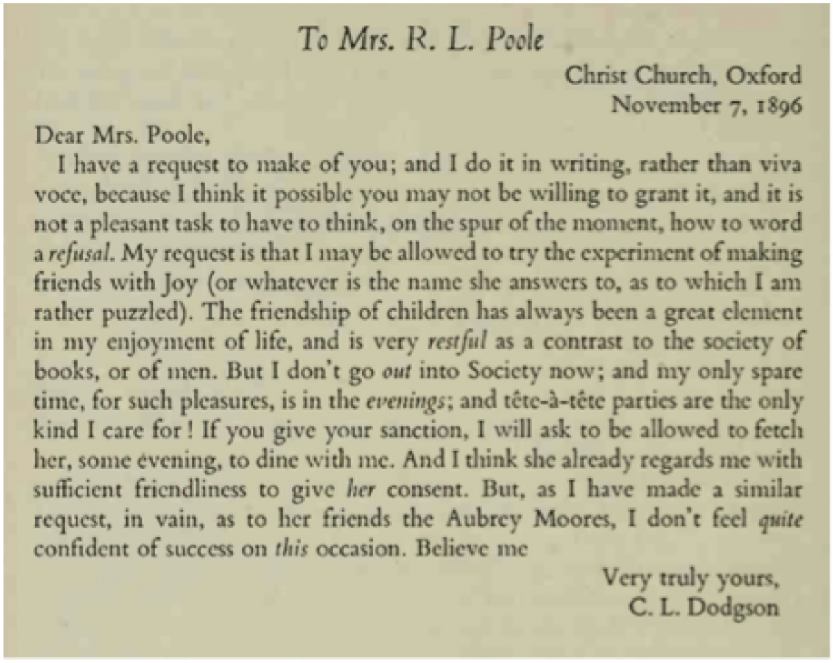 Charles Dodgson to Mrs. Poole (1896), edited by Morton Cohen.