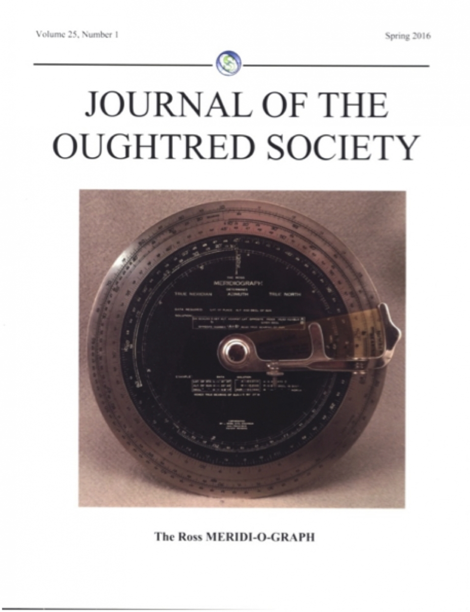 Title page of Spring 2016 Oughtred Society Journal.
