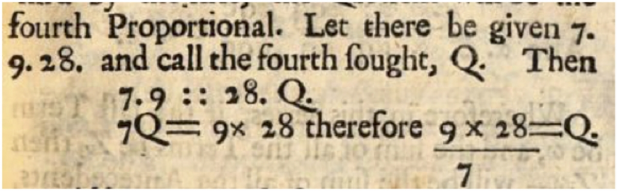 Example of proportion from Oughtred's Key to the Mathematicks.