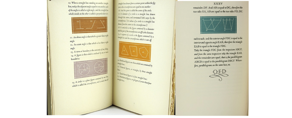Sample pages from the Euclid designed by Bruce Rogers.