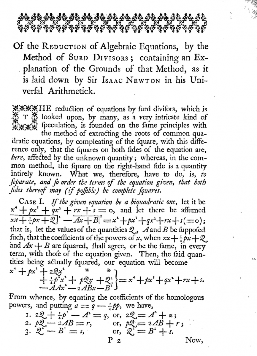 Page 107 of Thomas Simpson's 1757 Miscellaneous Tracts.