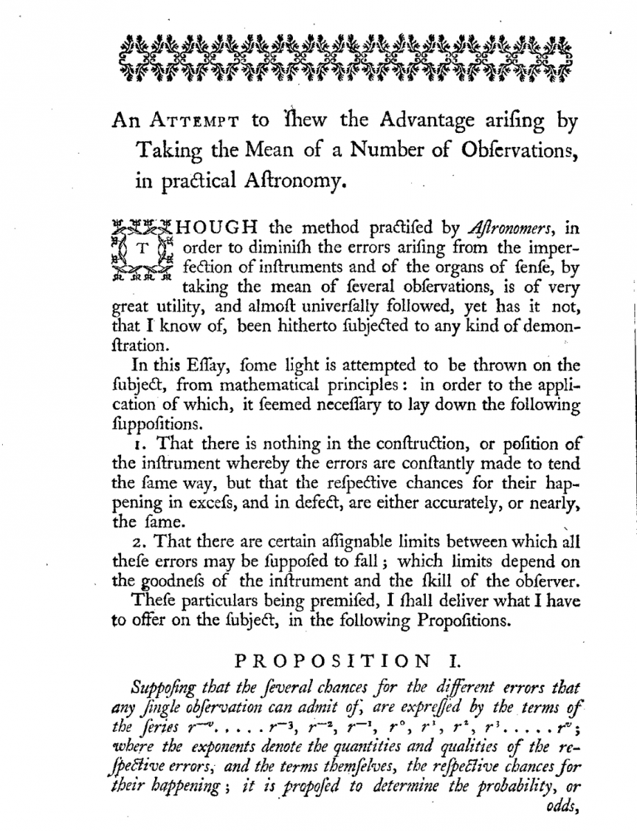 Page 64 of Thomas Simpson's 1757 Miscellaneous Tracts.