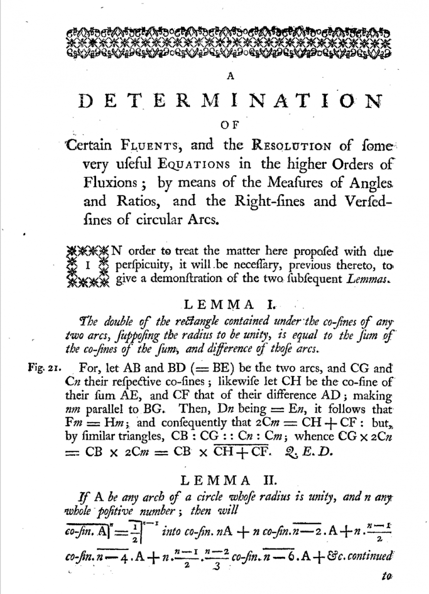Page 76 of Thomas Simpson's 1757 Miscellaneous Tracts.