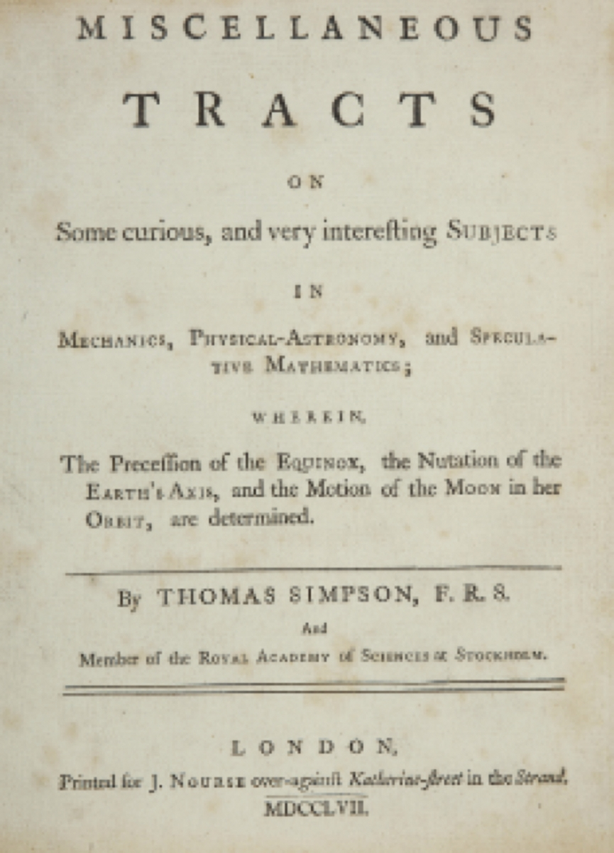 Title page of Thomas Simpson's 1757 Miscellaneous Tracts.