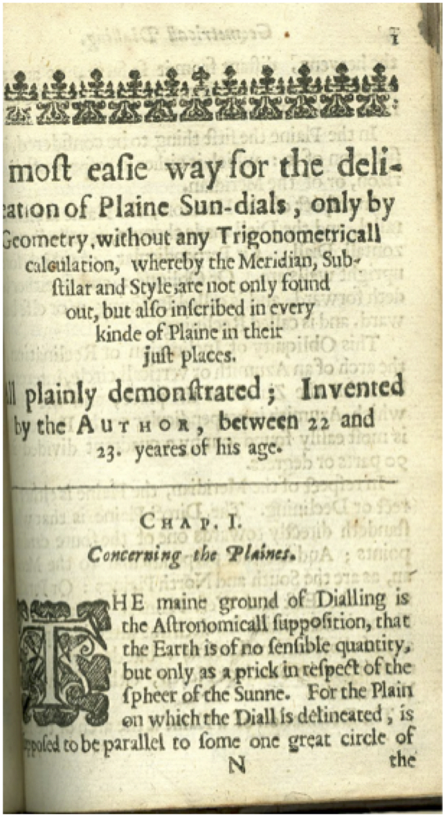 Title page for Oughtred's treatise on sundials.