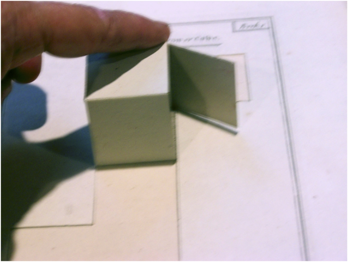 Folded-up cube from Cowley's Solid Geometry.
