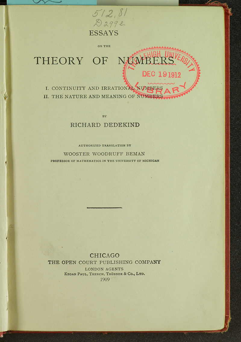 richard dedekind essays theory numbers Achetez et téléchargez ebook essays on the theory of numbers: boutique kindle - number theory : amazonfr.
