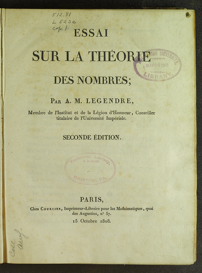 Mathematical Treasure: Legendre on Number Theory | Mathematical Association  of America