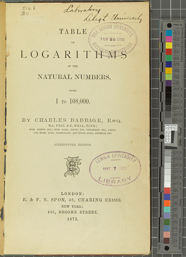 Title page of Charles Babbage's table of logarithms, 1872 edition.