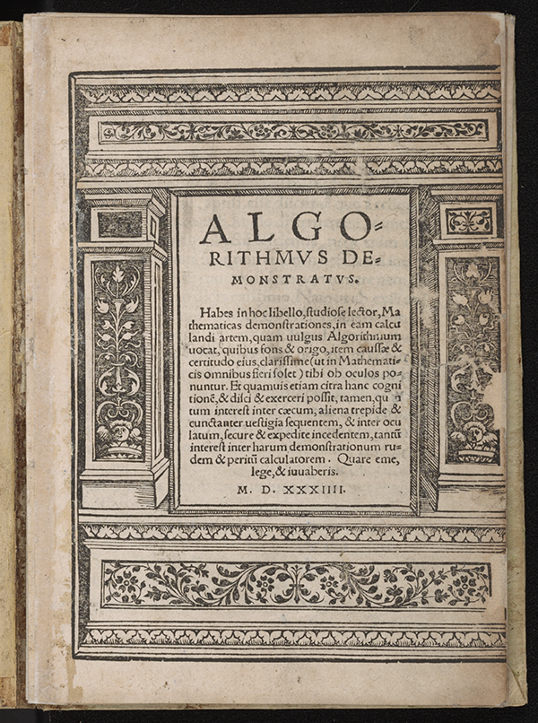 Title page of Algorithmus Demonstratus, Regiomontanus, 1534